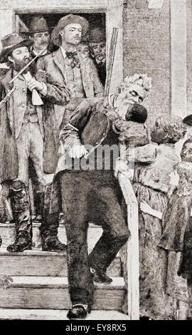 Les derniers instants de John Brown avant d'être prises pour son exécution par pendaison, 1859. John Brown , 1800 - 1859. Abolitionniste Américain blanc. D'après une peinture de Thomas Hovenden.
