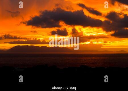 Coucher de soleil sur False Bay, Cape Town Afrique du Sud Banque D'Images