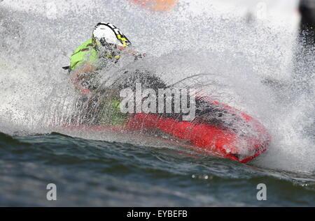 Moscou, Russie. 26 juillet, 2015. Un sauveteur vu à l'aviron et le canoë Krylatskoe Centre au cours de l'événement Banque D'Images