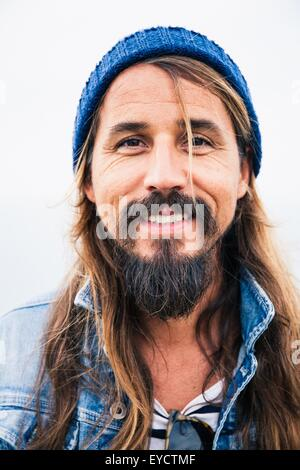 Barbe avec man wearing hat, portrait Banque D'Images
