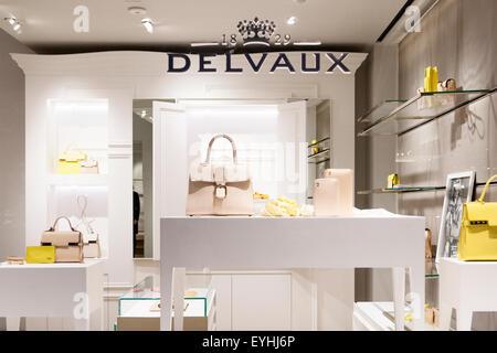 La fenêtre de la boutique Delvaux fabricant belge de maroquinerie de luxe Banque D'Images