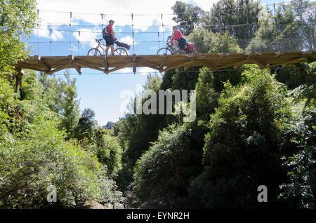 Faire du vélo à travers le pont sur le sentier du Bois, le Parc Forestier de Pureora, près de Taupo, île du Nord, Banque D'Images