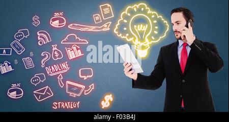 Image composite de businessman talking on phone holding tablet pc