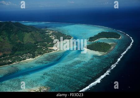 Polynésie française (France) - Îles de la société - Iles du Vent - Moorea - Hauru Point - Motu Fareone et Tiahura, Banque D'Images
