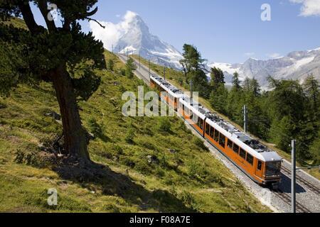 En face de la gare de Gornergrat Matterhorn à Zermatt, Valais, Suisse Banque D'Images