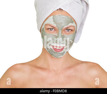 Jeune beauté woman getting facial mask Banque D'Images