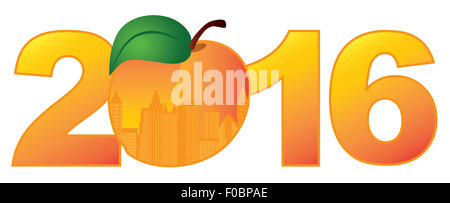 Nouvel An 2016 Atlanta (Géorgie, ville dans la région de Peach officiel Silhouette Contour Fruits illustration couleur Banque D'Images