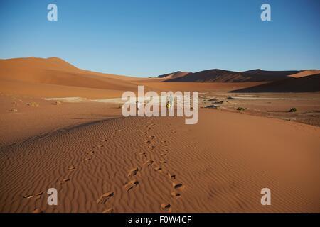 Les garçons marche sur dune de sable, le Parc National Namib Naukluft, Désert du Namib, Sossusvlei, Dead Vlei, Afrique Banque D'Images