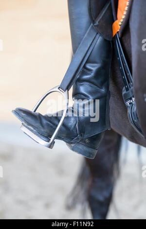L'équitation les orteils se tourna vers loin