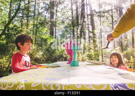 Deux enfants assis à une table de pique-nique en forêt Banque D'Images