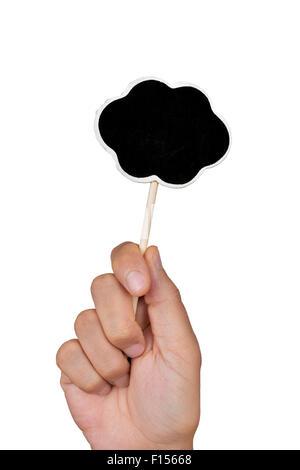 Libre de la main d'un jeune homme tenant un blank chalkboard dans la forme d'une bulle de pensée, sur un fond blanc. Banque D'Images