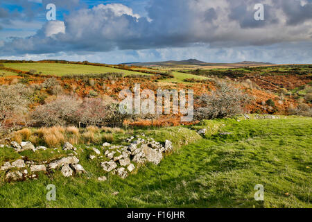 Devil's Leap; looking towards Rough Tor et Brown Willy Bodmin Moor, Cornwall, UK Banque D'Images