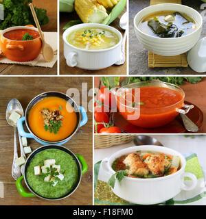 Menu collage soupes différentes (tomate, potiron, miso, épinards) Banque D'Images