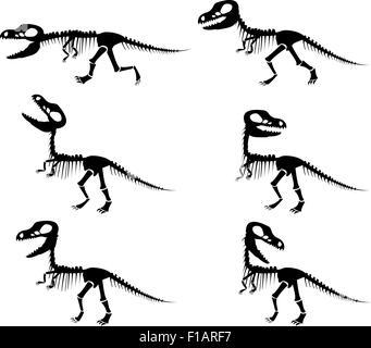 Silhouettes vecteur isolé du squelette d'un dinosaure Tyrannosaurus rex en silhouette style. Banque D'Images