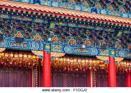 Détail de l'autel principal à la maison (de Wong Tai Sin temple de Sik Sik Yuen), district de Wong Tai Sin, Kowloon, Banque D'Images