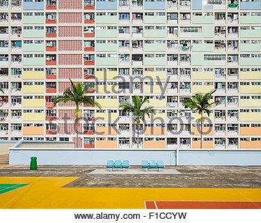 Choi Hung Estate, un des plus vieux quartiers de Hong Kong, quartier de Wong Tai Sin, Kowloon, Hong Kong, Chine Banque D'Images