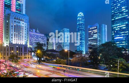Hong Kong Central Business District, Chater Garden et skyline avec IFC building, Hong Kong, Chine Banque D'Images