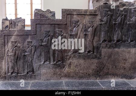 Audience royale scène, Persepolis, Musée National d'Iran, Téhéran Banque D'Images