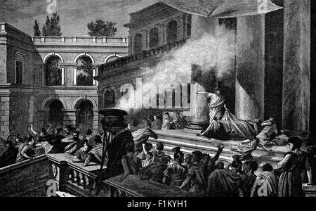 Marc Antoine montrant le corps de Jules César, après son assassinat sur les ides de mars, le 15 mars 44 av. J.-C., Banque D'Images
