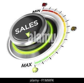 Bouton interrupteur vente positionné sur maximum, fond blanc et bleu. Image conceptuelle pour la stratégie de ventes Banque D'Images