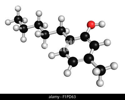 Antiseptique Amylmetacresol molécule du médicament utilisé dans des pastilles pour traiter les maux de gorge les Banque D'Images