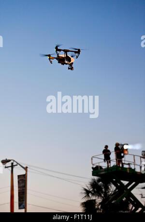 Un drone Caméra survolant Myrtle Beach SC South Banque D'Images