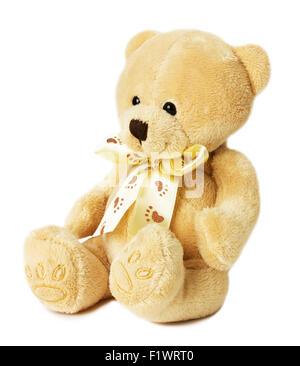 Ours en peluche jouet sur le fond blanc. Banque D'Images