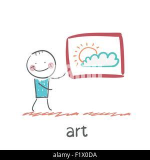 Oral sex in art style cartoon illustration. La situation de la vie. Banque D'Images