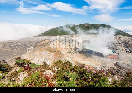 Costa Rica, Alajuela province, Parc National du Volcan Poas, volcan Poas Cratère Banque D'Images