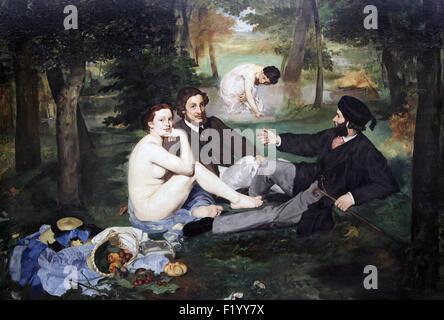 Déjeuner sur l'herbe, le jeune sur l'herbe 1863 par Edouard Manet 1832-1883 Banque D'Images