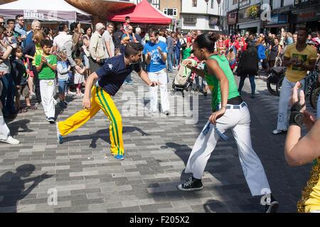 Les danseurs de capoeira carnaval brésilien Kingston Banque D'Images
