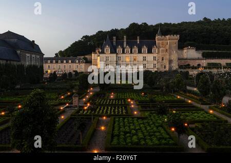 France, Indre et Loire, Vallée de la Loire, classé au Patrimoine Mondial de l'UNESCO, château et jardins de Villandry, Banque D'Images