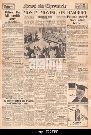1945 News Chronicle Retour la page déclaration Camp de concentration de Belsen Banque D'Images