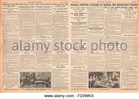 1915 pages 2 et 3 Daily Mirror Allemands et Turcs examiner E15 Sous-marin, Edward Dwyer VC chefs recruter mars à Banque D'Images