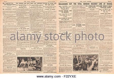 1915 pages 4 et 5 de l'armée bulgare Daily Mirror cut ligne de chemin de fer à Vrania et l'Italie déclare la guerre Banque D'Images