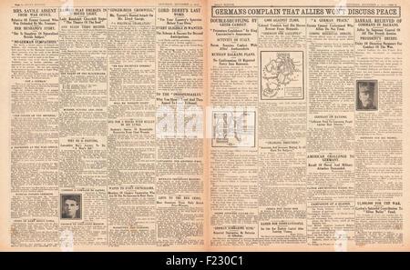 1915 pages 2 et 3 croquis quotidien Gouvernement allemand se plaignent que les alliés ne seront pas discuter de Banque D'Images