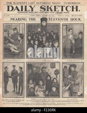 1915 front page Daily Sketch de nouvelles recrues pour l'Armée britannique et attaque de l'Armée bulgare lignes Banque D'Images