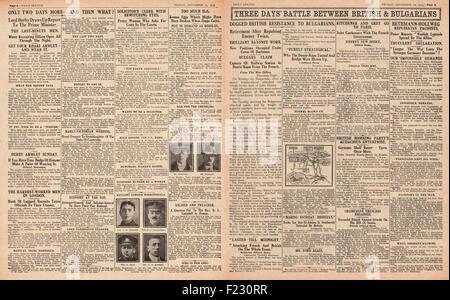 1915 pages 4 et 5 croquis quotidien de nouvelles recrues pour l'Armée britannique et attaque de l'Armée bulgare Banque D'Images
