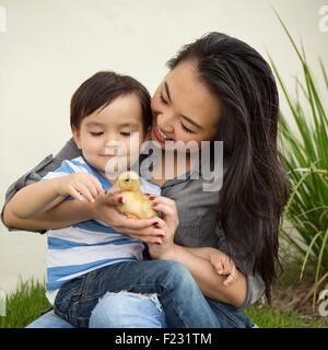 Smiling woman holding Un caneton jaune dans ses mains, son jeune fils à regarder. Banque D'Images