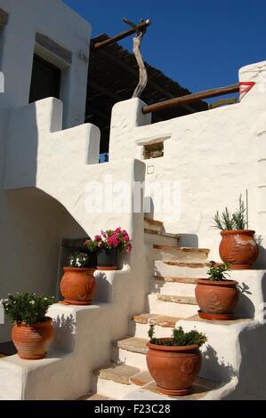 Cache-pots sur un escalier d'une maison en Grèce Amorgos Langada Banque D'Images