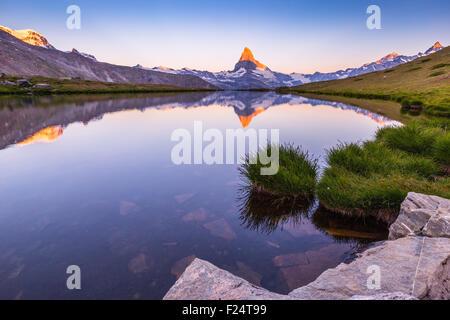 Lever du soleil sur le sommet de montagne de Cervino. Vue depuis le lac Stellisee. Paysage alpin, reflet du lac. Banque D'Images