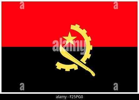 Fahne: Angola/ Drapeau: l'Angola. Banque D'Images