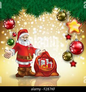 Résumé de message d'or de Noël avec le Père Noël et les décorations
