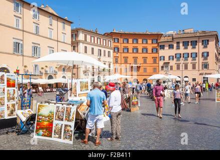 La peinture d'artistes et la vente d'art de la Piazza Navona Rome Italie Roma Lazio Italie Europe de l'UE Banque D'Images