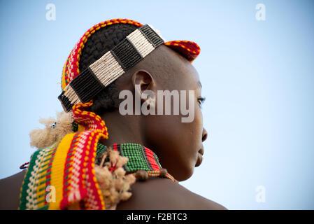 Tribu Hamer, vallée de l'Omo, Ethiopie du sud .l'une des dernières tribus sur la terre avec une forte, la culture Banque D'Images
