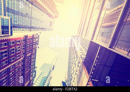 Retro Vintage vue filtrée des gratte-ciel dans le Lower Manhattan, New York City, USA. Banque D'Images