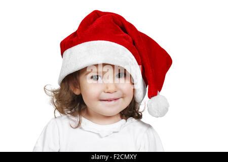 Enfant drôle habillé santa hat, on white