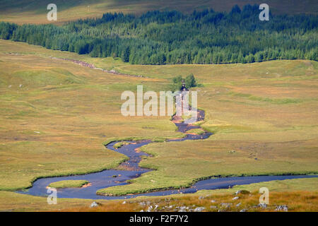 Ba Pont sur la West Highland Way, Rannoch Moor sur sa façon de Glencoe Banque D'Images