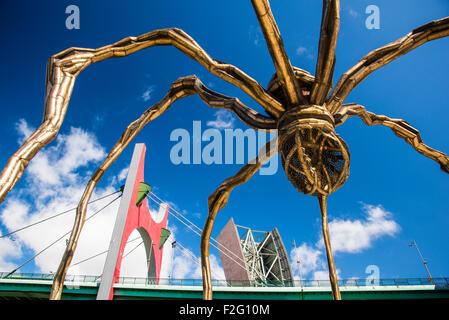 """""""Maman"""" - spider sculpture de Louise Bourgeois avec le Pont de La Salve à l'arrière-plan, Bilbao, Biscaye, Espagne Banque D'Images"""