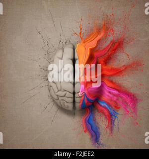L'esprit créatif ou cerveau illustré d'éclaboussure de peinture aux couleurs vives et de la dispersion. Ordinateur Banque D'Images